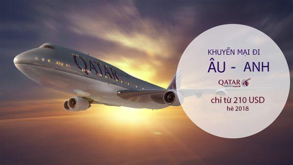 Khuyến mãi lớn đi Châu Âu và Anh giá chỉ từ 210 USD hàng không Qatar